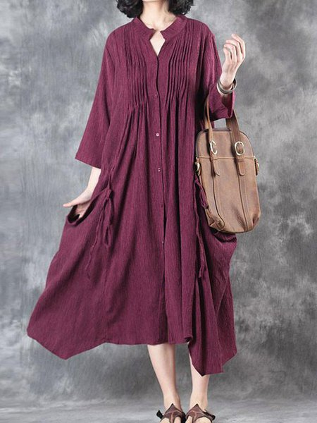 Long Sleeve Casual Stand Collar Linen Dress