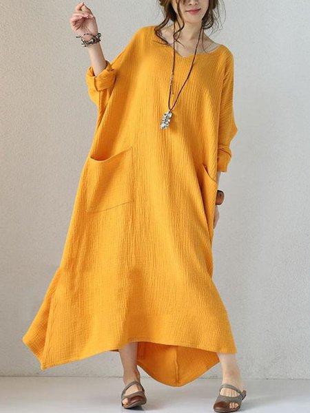 Yellow Long Sleeve Solid V Neck Linen Dress