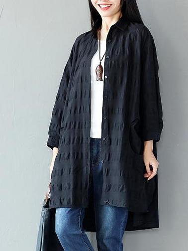 Black Shift Buttoned Casual Linen Outerwear