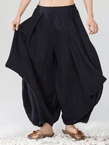 Black Casual Solid Cotton Gathered Linen Bottom