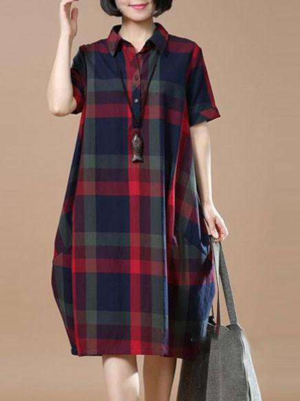 Red Checkered/Plaid Shirt Collar Casual Cocoon Linen Dress