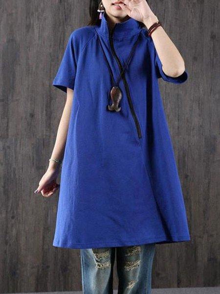 Blue Solid Casual A-line Zipper Linen Dress