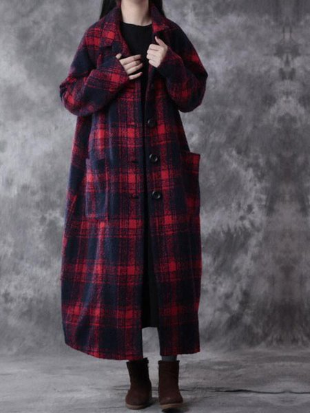 Red Long Sleeve Shawl Collar Checkered Linen Outerwear