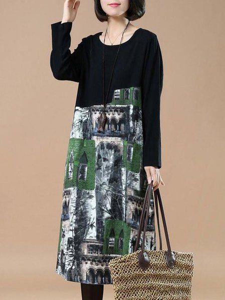 Green Painted Crew Neck Casual Abstract Linen Dress