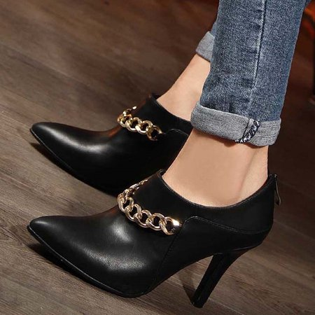 Chain Stiletto Heel PU Spring/Fall Boots