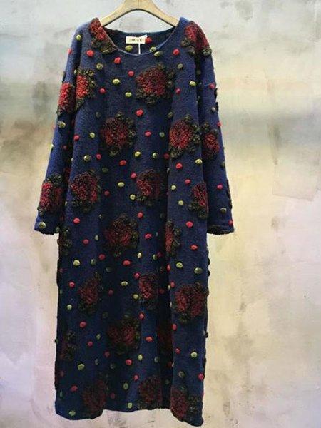 Long Sleeve Casual H-line Wool Blend Linen Dress