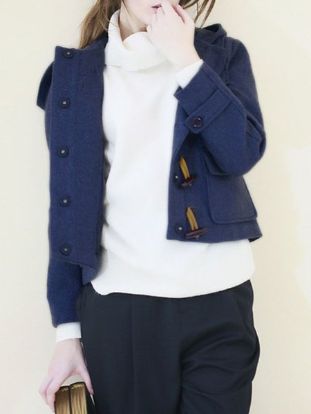 Long Sleeve H-line Pockets Coat