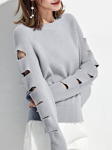 Cutout Knitted Casual Crew Neck Sweater