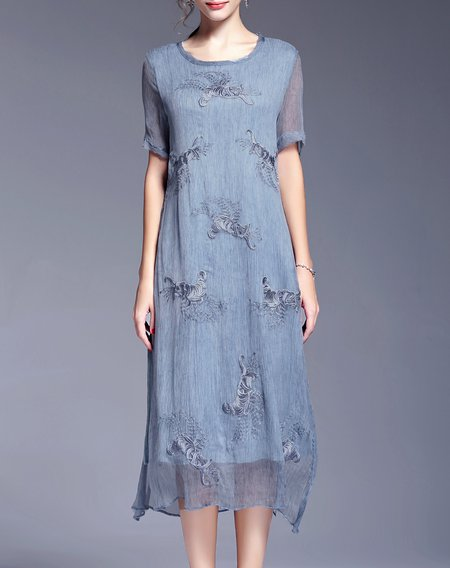 Blue Shift Short Sleeve Silk Midi Dress