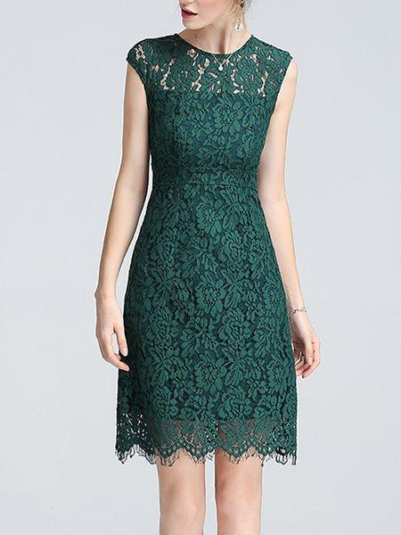 Green Lace Sleeveless Sheath Midi Dress