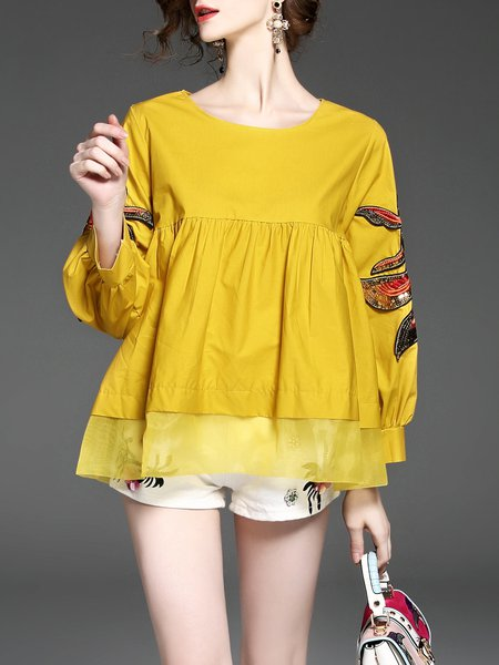 Yellow Crew Neck Long Sleeve Embroidered Babydoll Blouse
