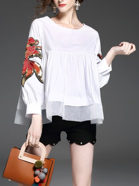White Floral Embroidered Long Sleeve Babydoll Blouse