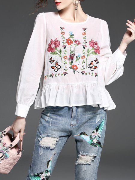Cute Floral-embroidered Long Sleeve Peplum Babydoll Tops