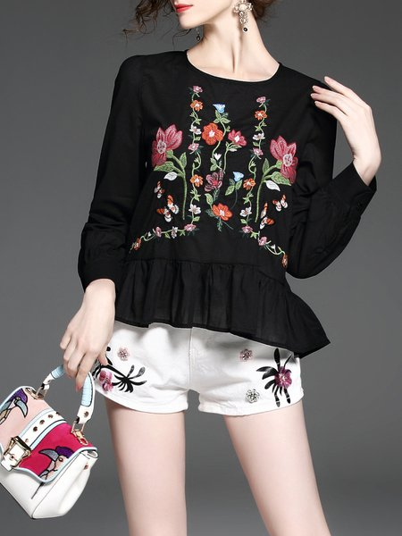 Floral-embroidered Cute Long Sleeve Peplum Babydoll A-line Tops