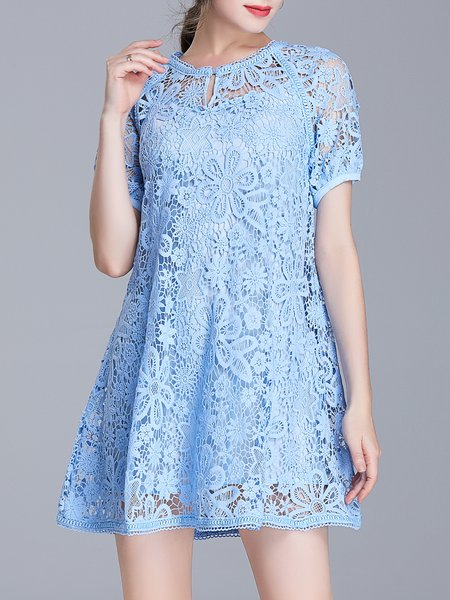 Blue Guipure Lace  Girly Crew Neck Mini Dress