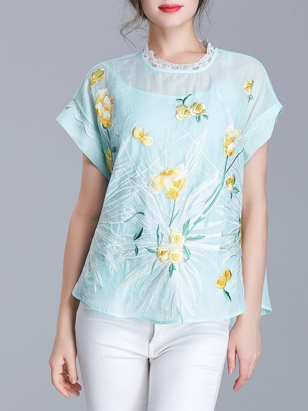 Light Green Short Sleeve H-line Crew Neck Floral-embroidered Blouse