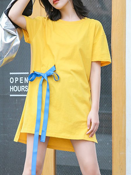 Yellow Cotton Crew Neck Shorts Sleeve Bow Mini Dress