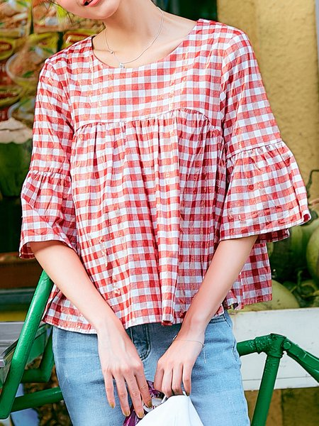 Red Checkered/Plaid Bell Sleeve Gingham Blouse