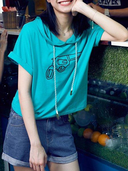 Blue Shorts Sleeve Printed Hoodies And Sweatshirt