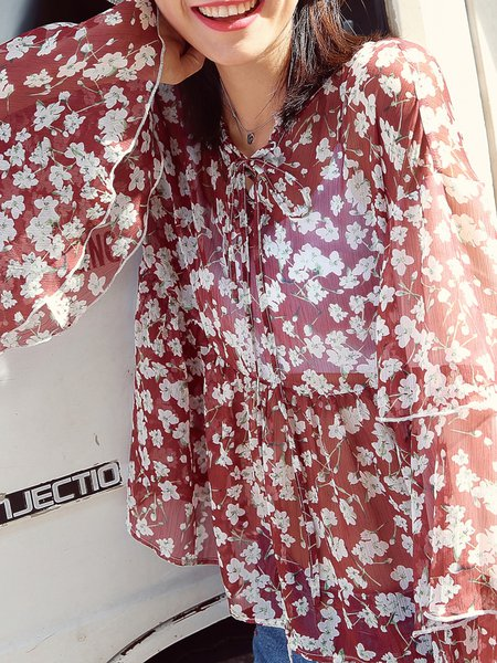 Red V Neck Floral-print Lace up Ruffled Bell Sleeve Tops