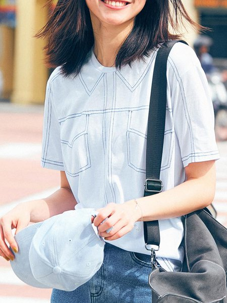 Shorts Sleeve Embroidered Cotton Casual Blouse