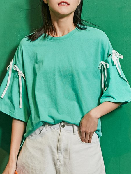 Green Slit Cotton Bow Bell Sleeve Solid T-Shirt