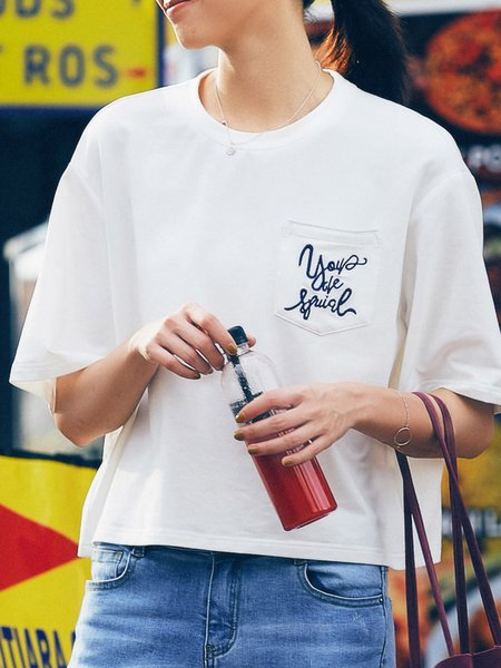 Casual Embroidered Half Sleeve T-Shirt