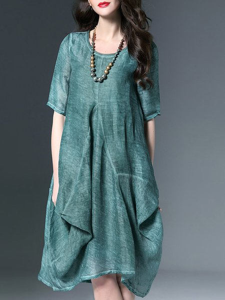 Green Half Sleeve Linen Midi Dress