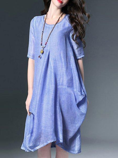 Floral-print Casual Silk Half Sleeve Midi Dress
