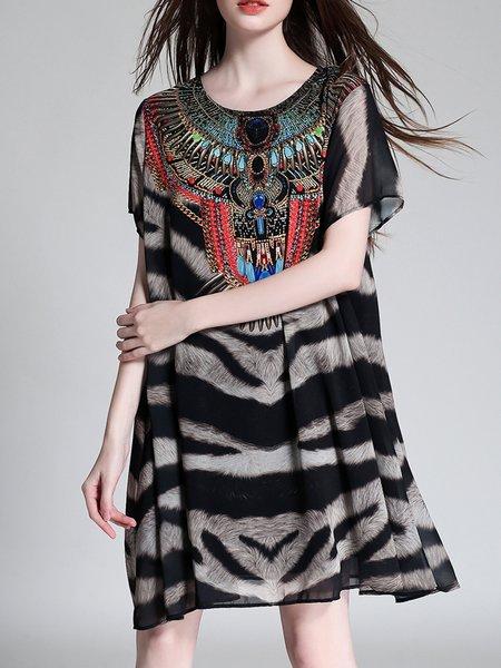 Multicolor A-line Chiffon Casual Leopard Print Midi Dress