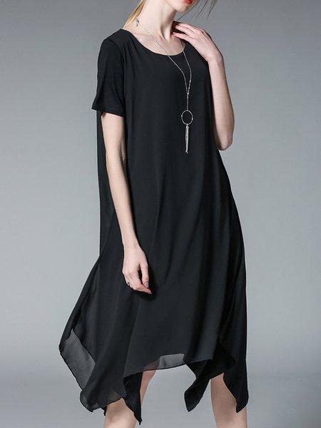 Black  Shorts Sleeve Asymmetric Crew Neck Midi Dress