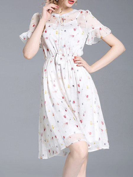 White Frill Sleeve A-line Floral-print Midi Dress