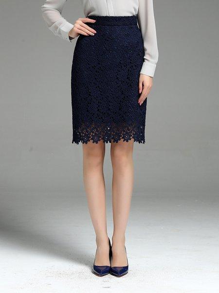 Black A-line Work Solid Midi Skirt - StyleWe.com