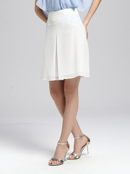 White Casual Solid A-line Midi Skirt
