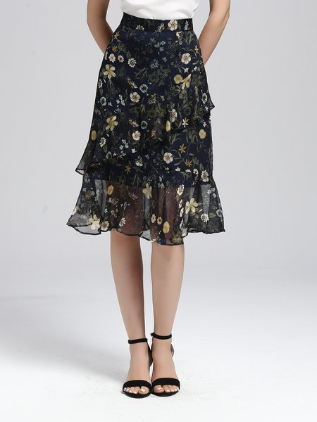 Ruffled Multicolor Floral-print A-line Floral Work Midi Skirt