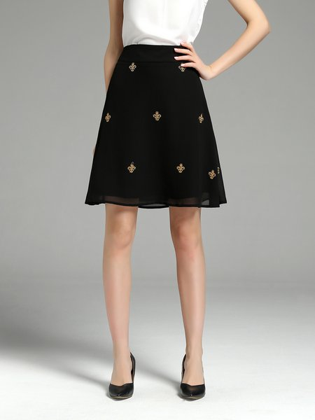 Black Casual Embroidered A-line Midi Skirt