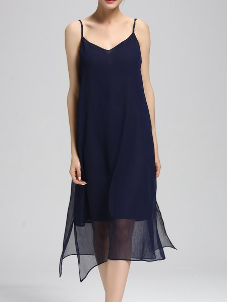 Blue V Neck Slit Casual Solid Chiffon Midi Dress