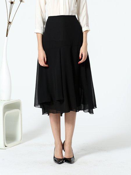 Black Asymmetric A-line Work Chiffon Midi Skirt