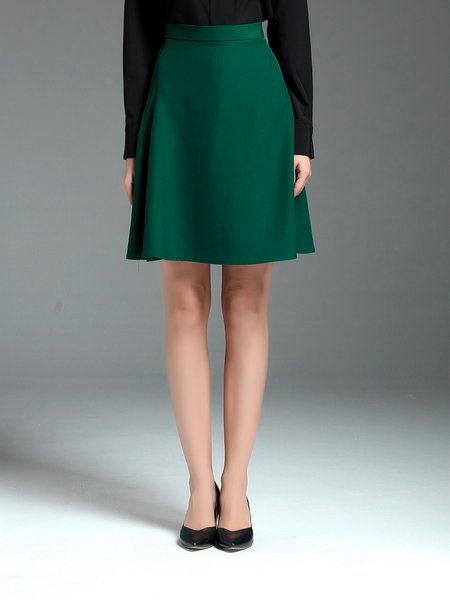 Green Polyester A-line Work Solid Midi Skirt