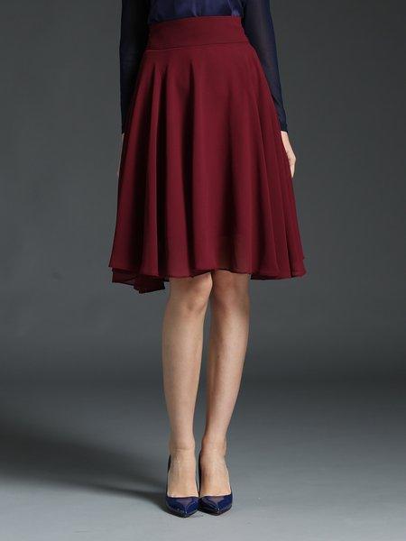 burgundy a line polyester work midi skirt stylewe