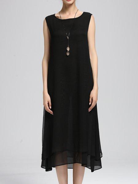 Black A-line Sleeveless Solid Midi Dress