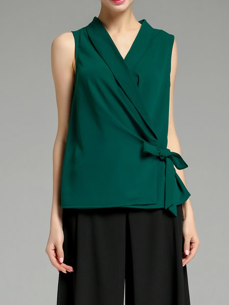 Green Bow Chiffon Casual H-line Tank Top