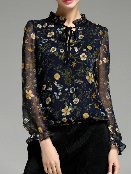 Multicolor Floral Print V Neck H-line Frill Sleeve Blouse