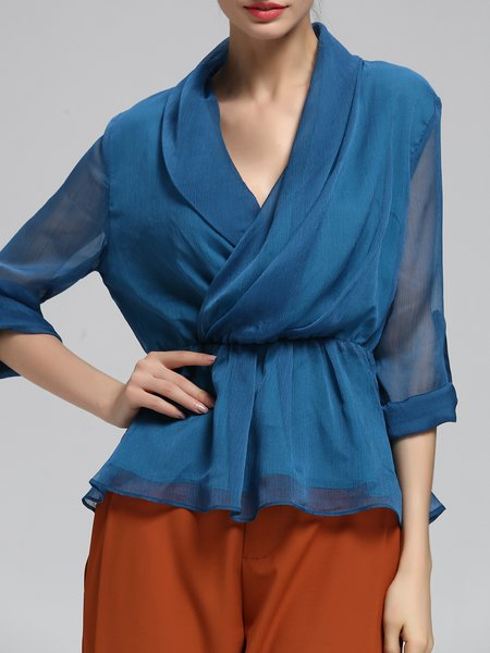 Casual 3/4 Sleeve Chiffon Solid Blouse