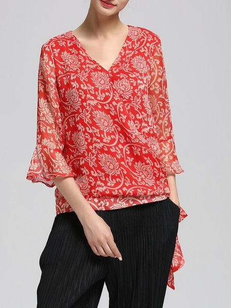 Floral-print Bell Sleeve Casual Tops