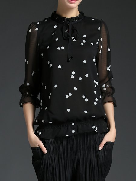 Black Chiffon Casual Polka Dots Ruffled Blouse