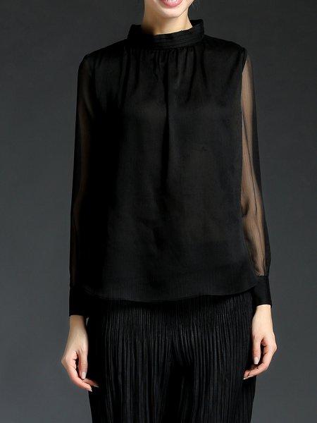 Black Simple Chiffon Turtleneck H-line Blouse