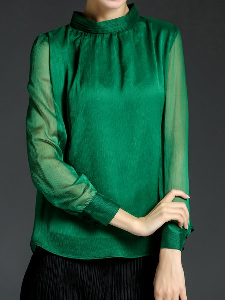 Green Solid Chiffon Long Sleeve Turtleneck Blouse
