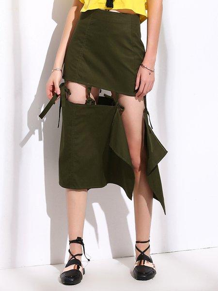 Army Green Sexy Cutout Bow A-line Midi Skirt