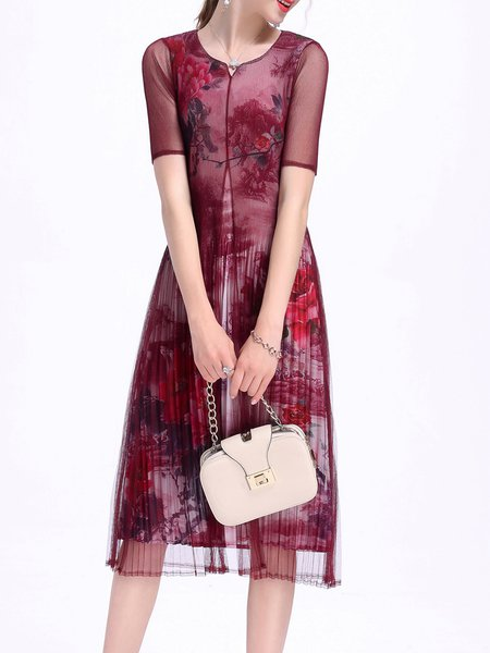 Burgundy V Neck Floral Short Sleeve A-line Midi Dress